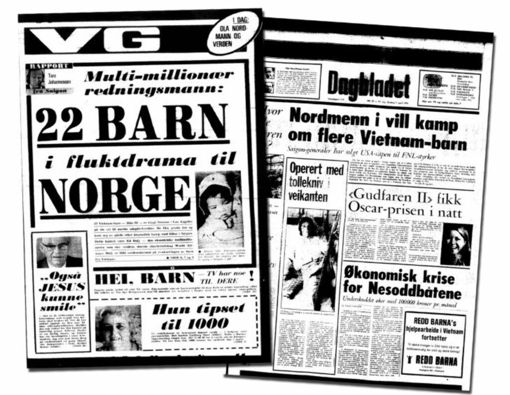 FULGTE DRAMAET: Flukten fikk stor oppmerksomhet i riksmediene her hjemme. Faksimile av Dagbladet 9. april 1975 og VG 11. april 1975.