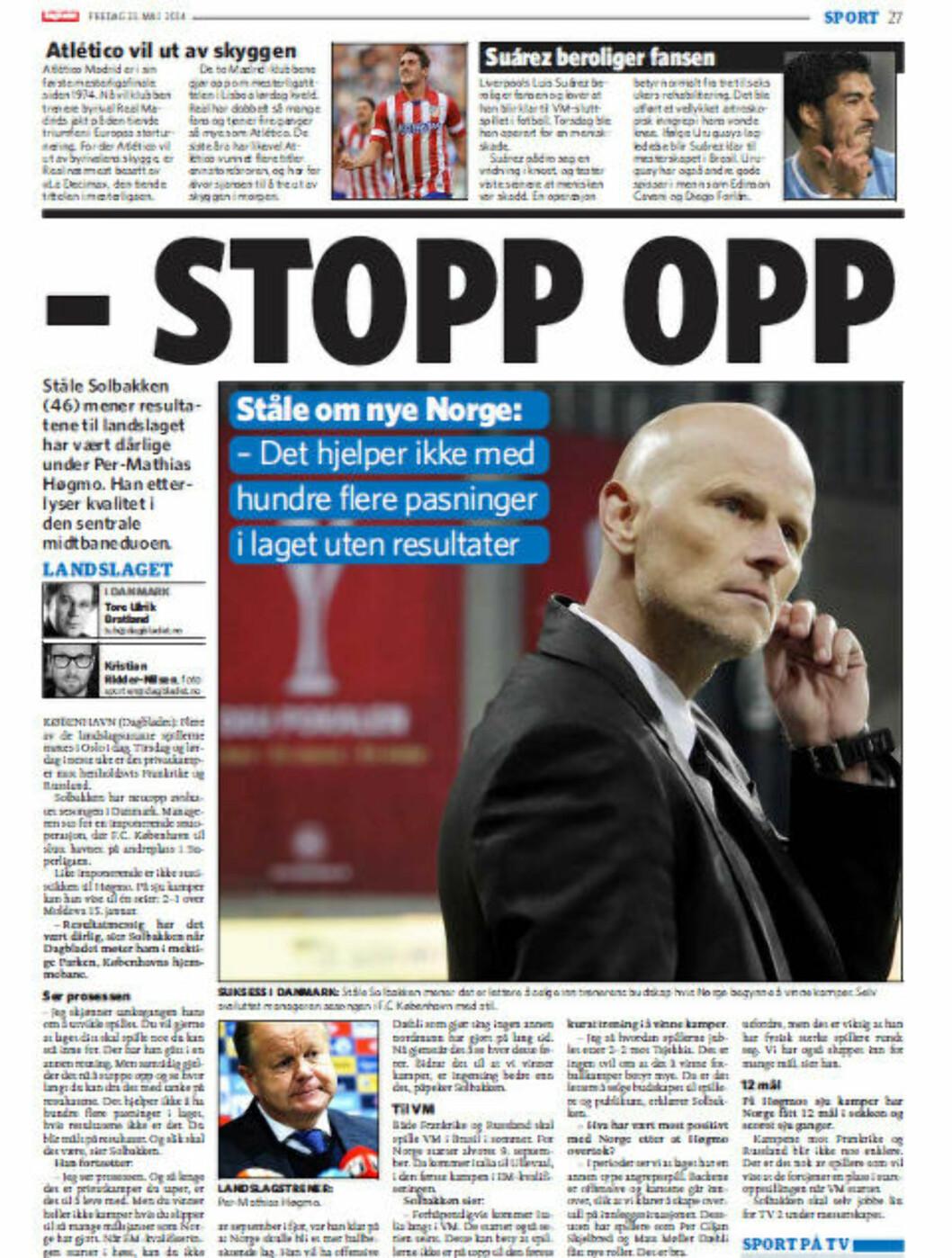 <strong>FAKSIMILE:</strong> Dagbladet 23. mai 2014.