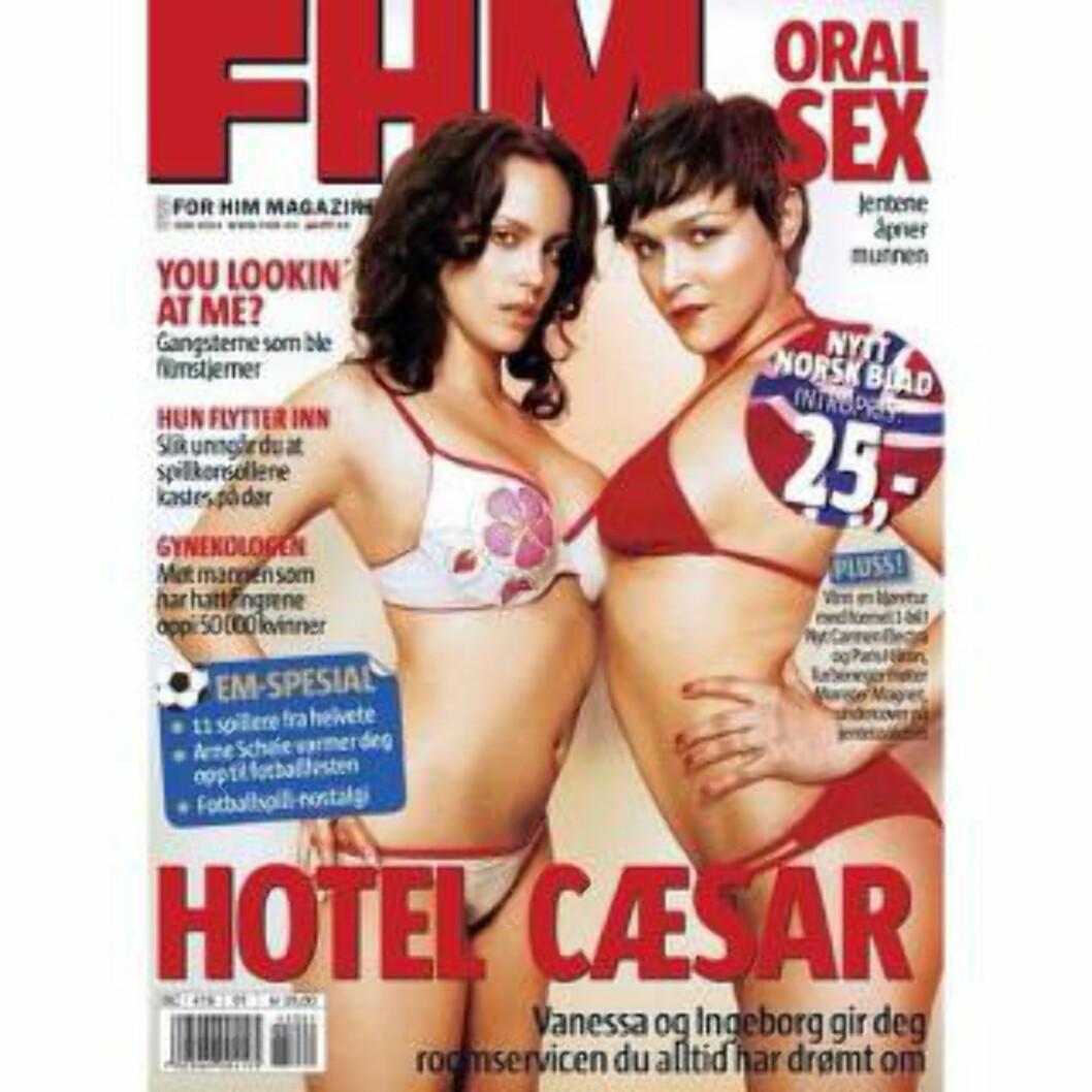 FØRSTE UTGAVE: «Hotel Cæsar»-profilene Vanessa Borgli og Ingeborg Raustøl som prydet den første FHM Norge-forsida iført bikini. Faksimile: FHM