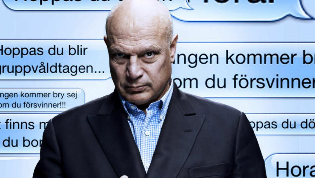 PREMIERE I KVELD: I det nye programmet «#Trolljegerne» oppsøker revolverjournalisten Robert Aschberg folk som skriver rasistiske eller sjikanøse kommentarer på nett. Flere av dem eksponeres med navn og bilde i programmet. Foto: TV3
