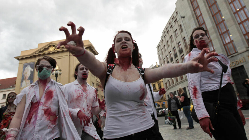 <strong>«EKTE» ZOMBIER:</strong> På bildet går en gruppe zombieentusiaster i den årlige zombiemarsjen som gikk av stabelen i Praha 24. mai i år. Nå skal britene snart få sjansen til å prøve seg i en «ekte» zombieapokalypse på BBC. Foto: REUTERS/David W Cerny