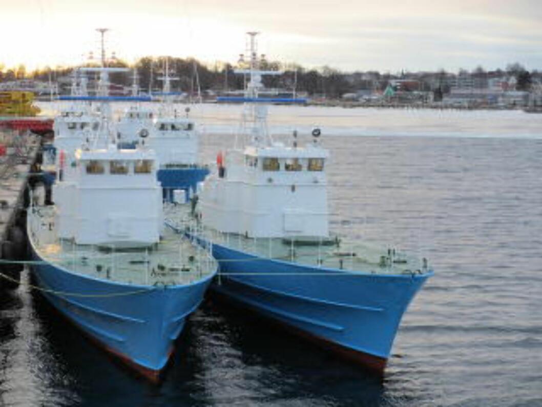 <strong>BYGGET OM:</strong> Alle våpensystemer ble fjernet før salget, men skipene skal ha fått avanserte radarer etter ønske fra kjøperen CAS Global. Her ligger de klare i Horten etter ombyggingen. Foto: Forsvaret