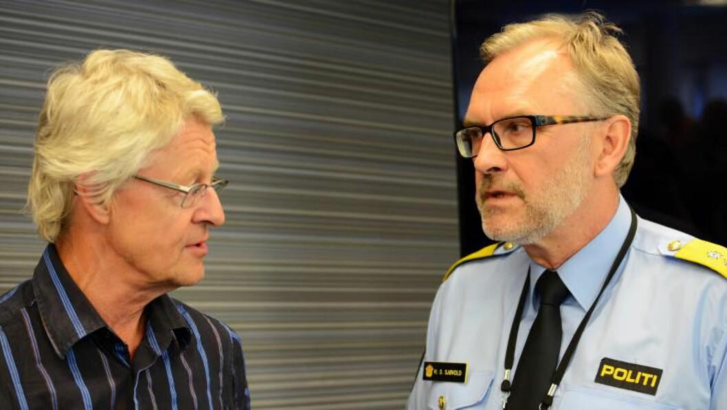 <strong>AKTØRER:</strong> Til stede under redegjørelsen er Oslos politimester Hans Sverre Sjøvold og advokat Harald Stabell, som tildligere har vært tungt inne i saken på de etterlattes side. Foto: RALF LOFSTAD / DAGBLADET