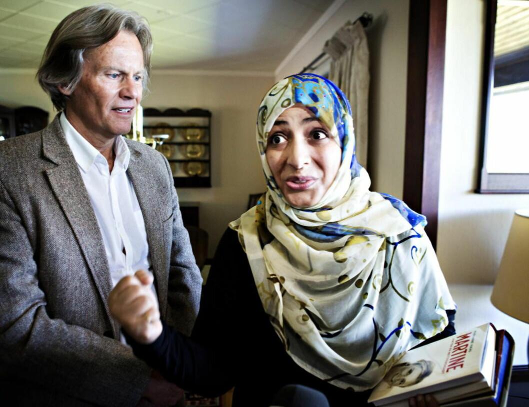 <strong>MØTTES:</strong> Faren til Martine, Odd Petter Magnussen fikk besøk hjemme av den jemenittiske fredsprisvinnerenTawakkul Karman. Foto: Nina Hansen / Dagbladet