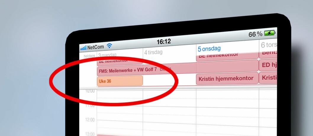 <strong><B>FØLGER IKKE MED:</strong></B> Apple har i løpet av fem store systemoppdateringer ikke inkludert ukenummer i sin kalender. Vi viser deg hvordan det gjøres.