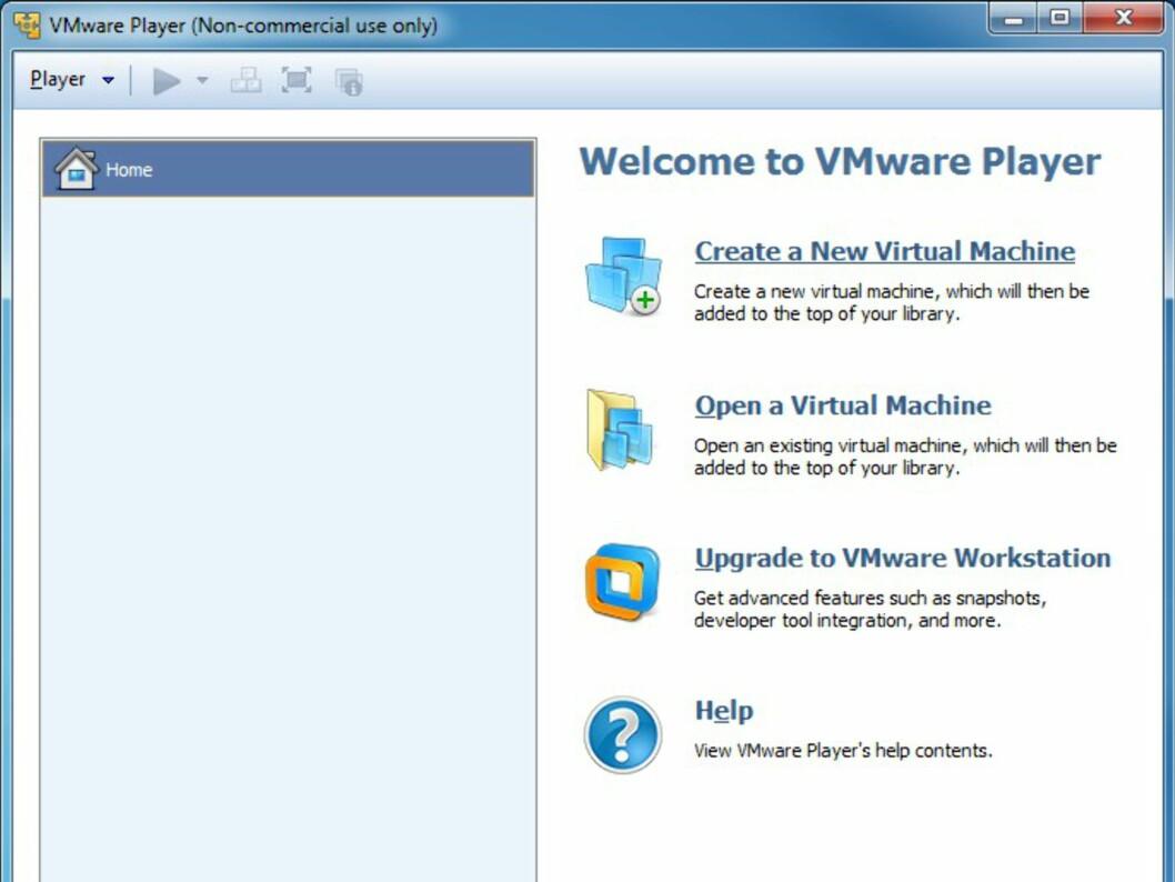 """Start med å trykke på """"Create a New Virtual Machine"""""""