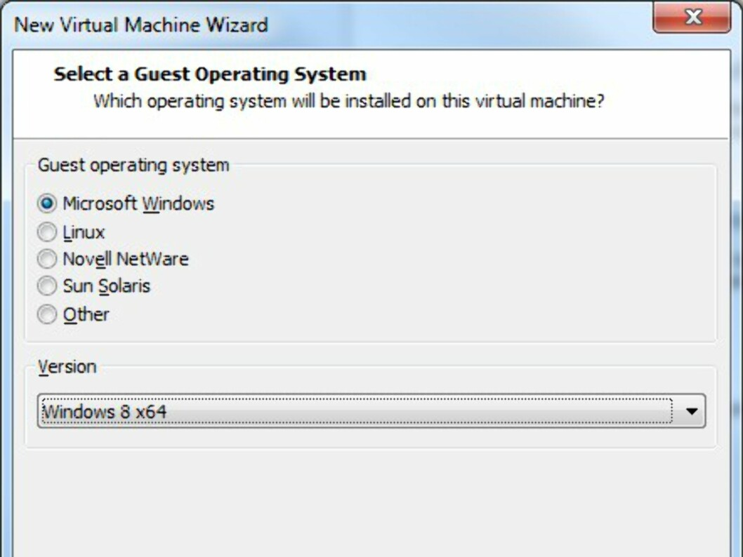 Velg Microsoft Windows, og velg versjonen du har lastet ned. Husk at x64-versjonen krever mer av PC-en din enn 32 bits-versjonen.