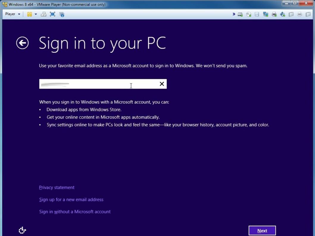 For full utbytte av Windows 8 behøver du en konto hos Microsoft, for eksempel en hotmail-adresse eller tilsvarende.