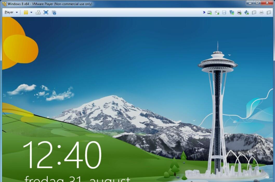 Aldri har det vært enklere å teste ut Windows 8, helt uten risiko. Her et skjermbilde fra påloggingsskjermen inne i en virtuell PC i Vmware. Foto: Alle bilder: Bjørn Eirik Loftås, DinSide.no