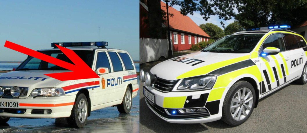 Riksvåpenet er borte på de nye politibilene