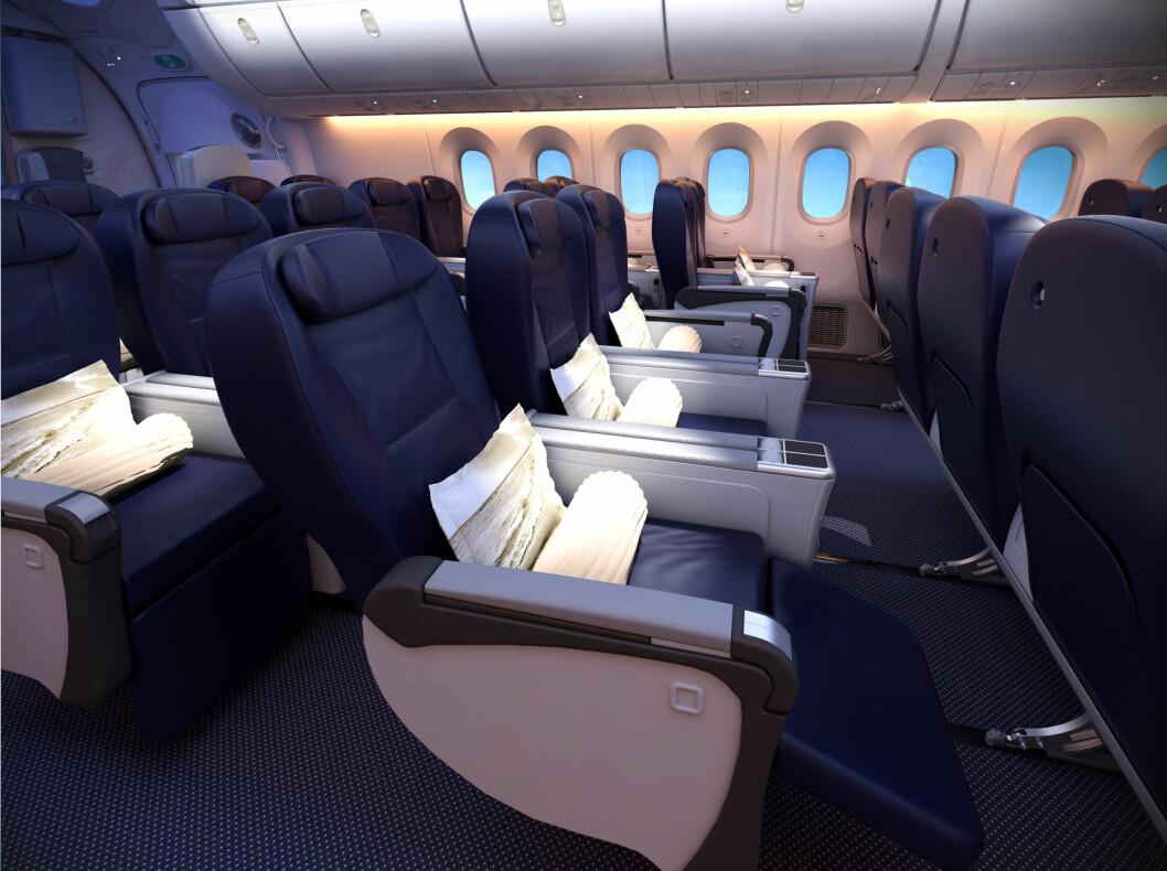 Seter på premium-klasse kan se slik ut. Benplassen i Premium Class på Dreamlineren blir 38 inch i stedet for dagens 37 inch på B 767, opplyser Star Tour. Foto: Thomson