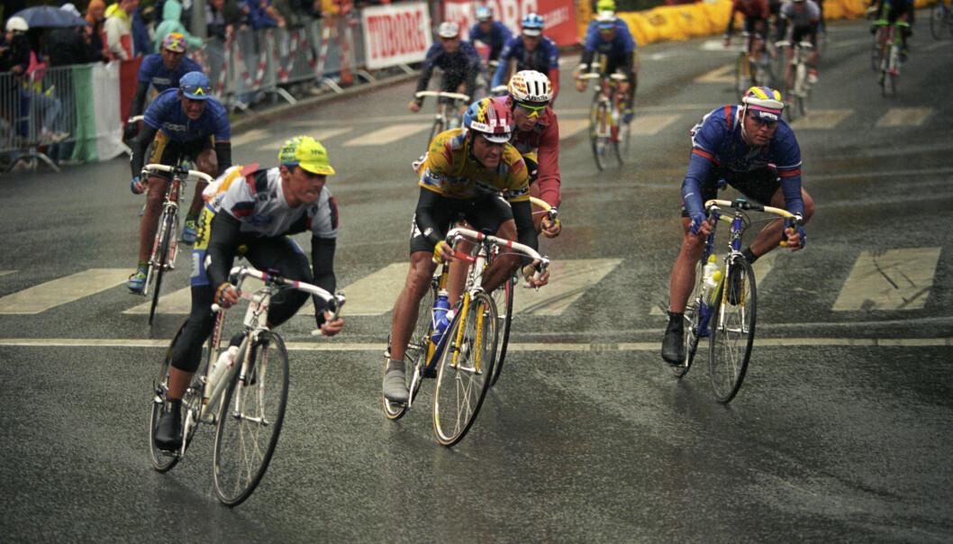 <strong>Oslo 1993:</strong> Dag Otto Laurizten ble nummer sju på herrenes fellesstart sist VM ble arrangert i Norge.<div>Det var regnvær og meget glatt nedenfor Sjømannsskolen på Ekeberg i Oslo. Foto: Aleksander Nordahl / NTB / SCANPIX</div>