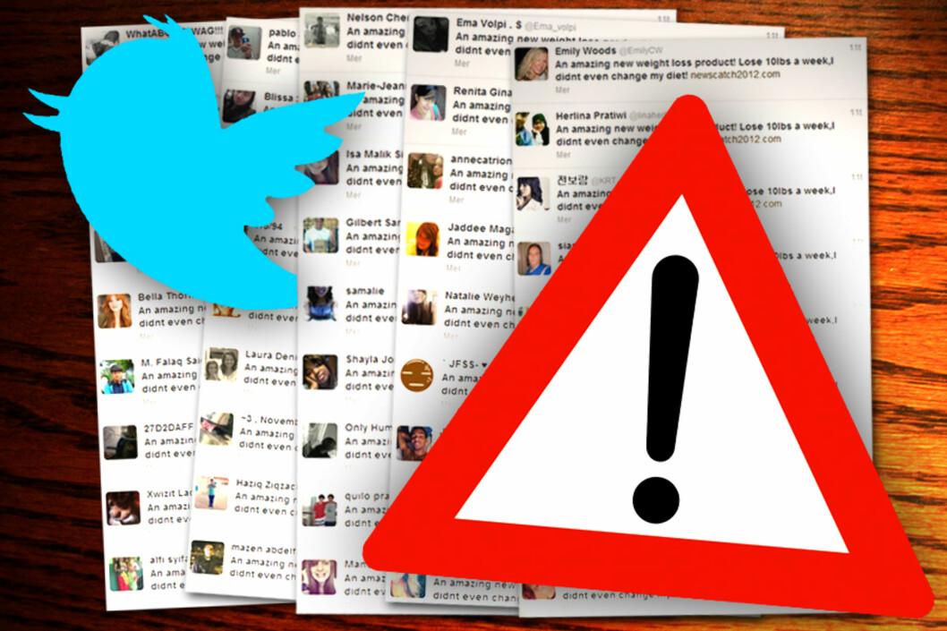 <strong>OVERSVØMMES:</strong> Twitter-meldinger fra tusenvis av brukere spys ut på nettstedet uten at brukerne vil det. Heldigvis kan de ganske enkelt fjerne Twitter-viruset selv. Foto: Ole Petter Baugerød Stokke