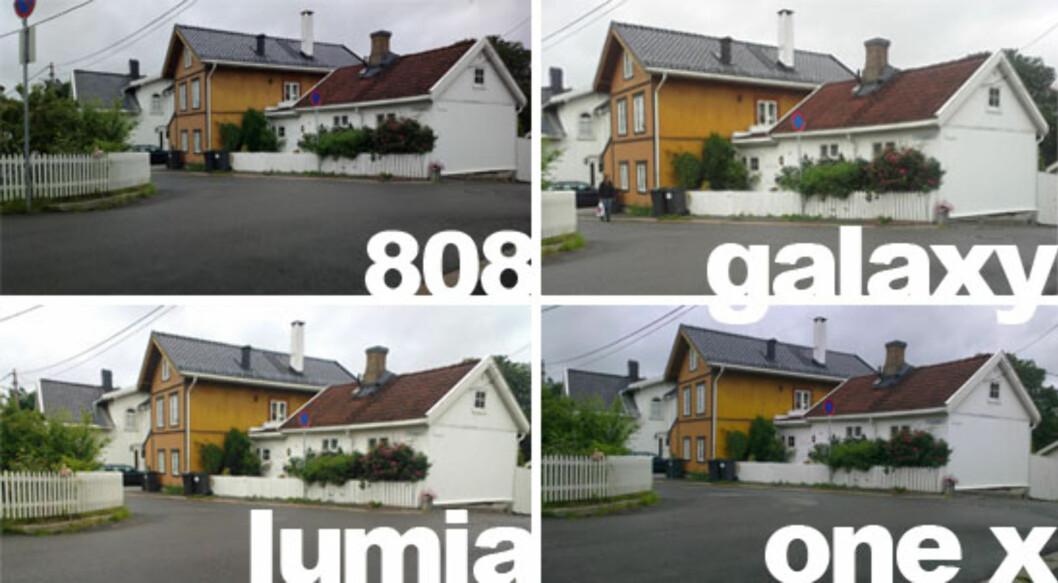 <strong>FARGER:</strong> Slik ble det samme bildet tatt med alle de fire kameraene. Du ser at Galaxy Beam faktisk gir det mest fargerike bildet, men nok blåser de mer opp enn man burde.  Foto: Ole Petter Baugerød Stokke