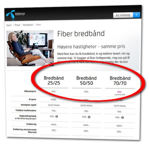 TEORETISK: Hastighetene som blir oppgitt i reklame for bredbånd er bare teoretiske opp- og nedhastigheter. Men det betyr ikke at leverandørene kan levere så lave hastigheter de vil.  Foto: Ole Petter Baugerød Stokke