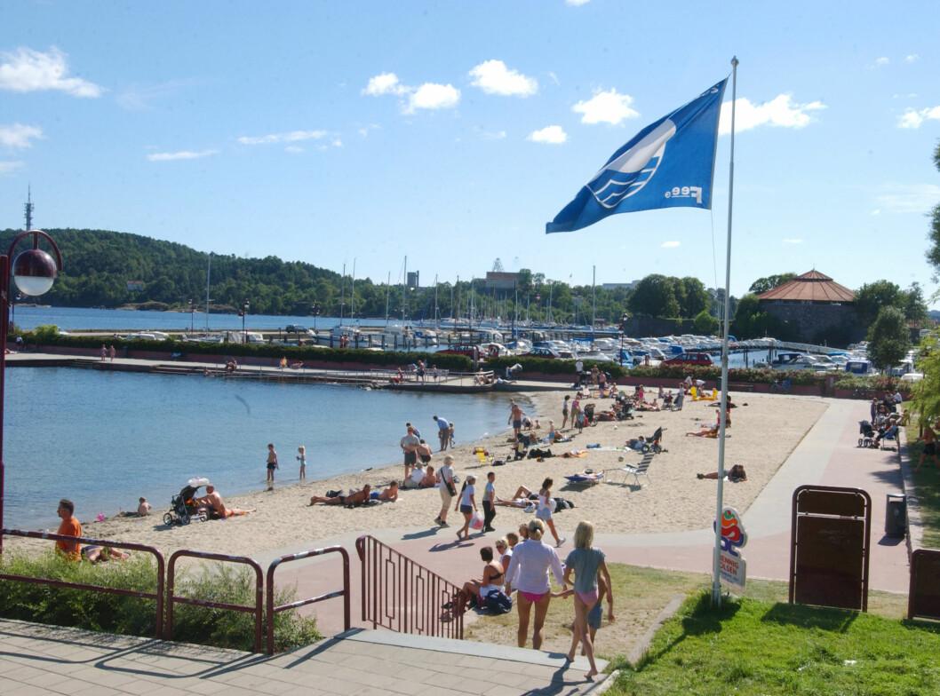 Bystranda i Kristiansand er en gammel traver i norsk blått-flagg-sammenheng. Foto: FEE Norway