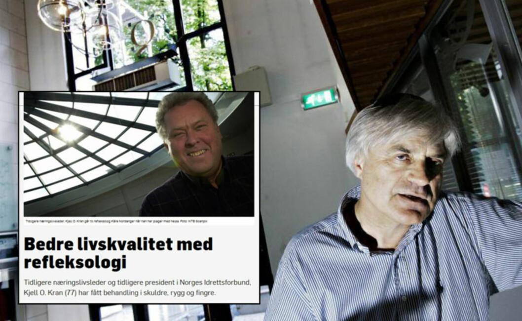 <strong> KRITISK TIL TEKSTREKLAME:</strong>  Gunnar Bodahl-Johansen ved Institutt for Journalistikk (IJ) sier TV2 i Kran-saken burde innhentet mer dokumentasjon, sett om det finnes tester av behandlingsreformeb, lest vitenskaplige artikler eller prøvd andre røster i miljøet. Foto: Skjermdump TV2 og Frank Karlsen / Dagbladet