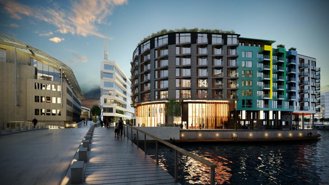 Slik blir The Thief, Stordalens nye desighotell helt ytterst på Tjuvholmen i Oslo. Og best av alt; alle rommene vil ha balkong.  Foto: Anemone Wille-Våge/The Thief