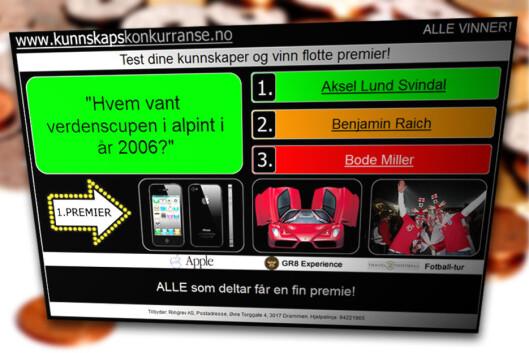 """<strong>""""KONKURRANSE"""":</strong> Mange SMS-tjenetser markedsfører seg som kunnskapskonkurranser, ala denne, som vi har skrevet om tidligere. Men i realiteten binder de seg til dyre SMS-tjenester.  Foto: Ole Petter Baugerød Stokke"""