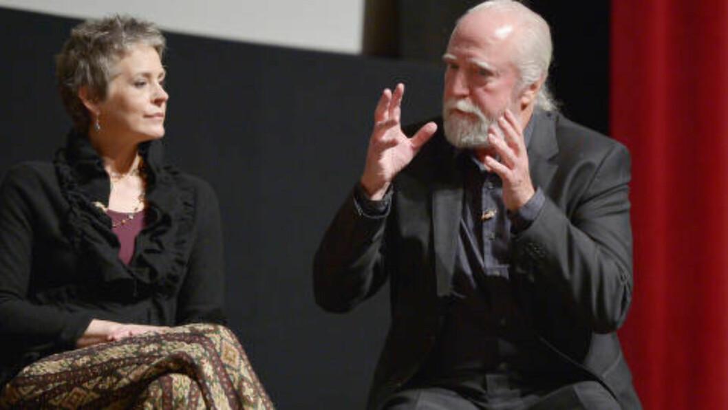 SPÅS EMMY Flere har spådd at Melissa McBride kan vinne en Emmy for innsatsen i «The Grove», fjortende episode i fjerde sesong av «The Walking Dead». Her med seriekollega Scott Wilson. Foto: John Shearer/Invision for AMC/AP Images