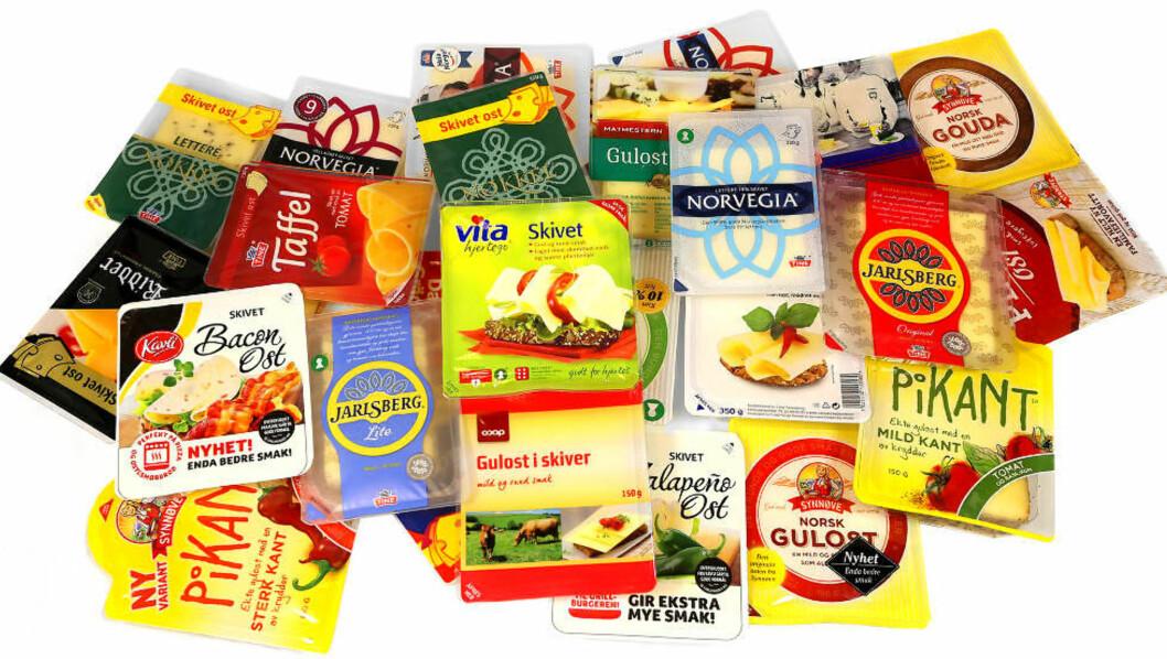 <strong>STOR FORSKJELL PÅ FETT OG KALORIER:</strong> Men fett binder smak, og derfor er det ingen hemmelighet at mange syns at de feteste ostene smaker best/mest. I avstemmingen nedenfor kan du stemme på den osten du syns smaker best. Foto: ERIK HELGENESET
