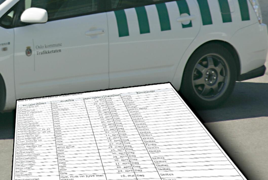 <strong><B>FULL OVERSIKT:</strong></B> Bymiljøetaten i Oslo publiserer lister over hvor de setter i gang med vårrengjøring for at du skal slippe å finne bilen din borttauet til et deponi. Foto: ØIVIND IDSØ