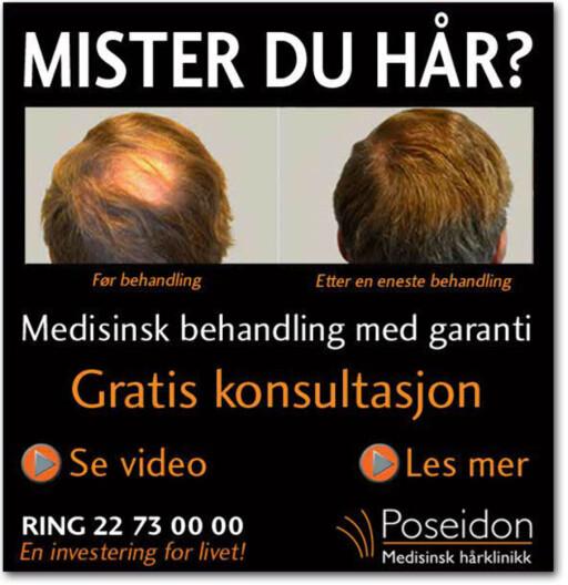 REAGERTE: Helsetilsynet mente slike annonser, som blant annet har vært på VG.no, kunne stride mot loven.  Foto: VG.no