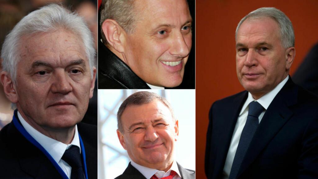 135,5 MILLIARDER: Gennadij Timsjenko (t.h), brødrene Boris og Arkadij Rotenberg og Yuri Kovalsjuk har til sammen en formue på 135,5 milliarder. Nå har de blitt plassert på sanksjonslistene på grunn av sitt tette forhold til Vladimir Putin. Foto: NTB Scanpix
