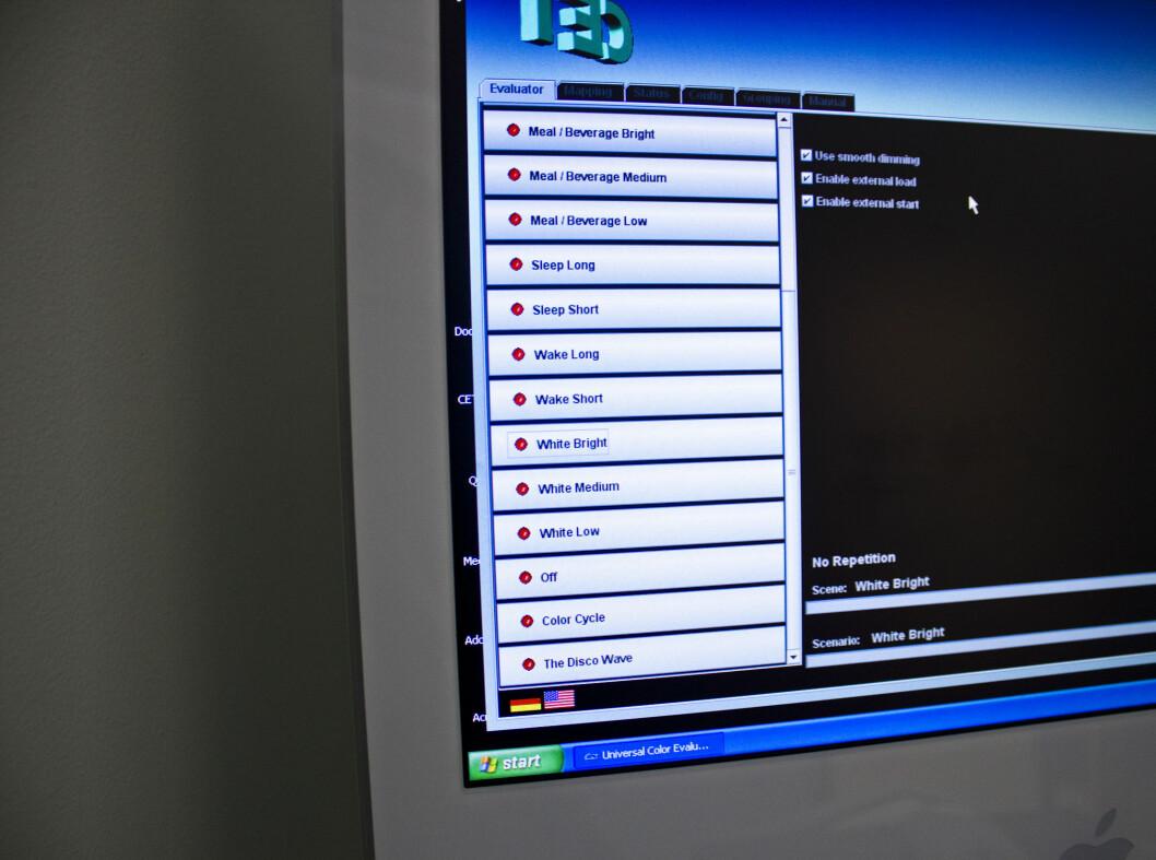 Her er de ulike lysprogrammene flyselskapet kan variere mellom. Foto: Silje Ulveseth