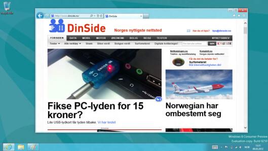 <strong>JOMMEN:</strong> Kjøper du et x86-basert nettbrett, får du skrivebordet og en full Internet Explorer 10 akkurat som på en PC.  Foto: Ole Petter Baugerød Stokke