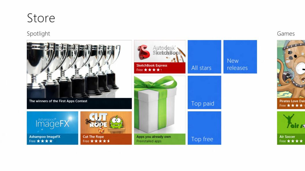 Det er ikke mye her ennå, men app-butikken kan bli være eller ikke-være for Windows 8.  Foto: Ole Petter Baugerød Stokke