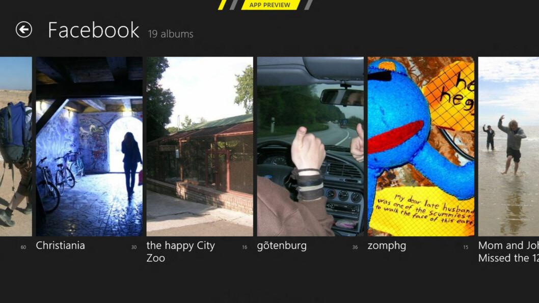 <strong>SMART:</strong> Windows 8 har støtte for Facebook. Dermed dukker Facebook-albumene dine opp i bilde-appen.  Foto: Ole Petter Baugerød Stokke