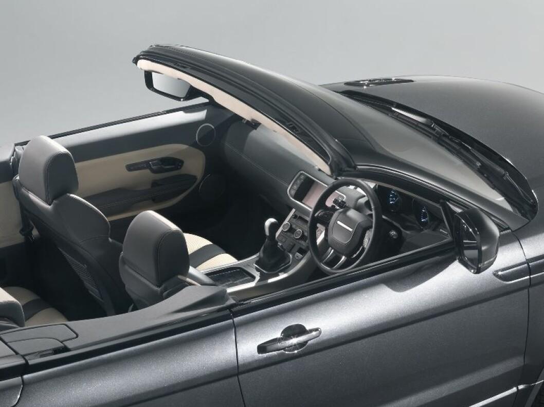 <strong>UNIKT OG TØFT:</strong> Hvem skulle trodd det? Range Rover Evoque som kabriolet! Navnet er Range Rover Evoque Convertible Concept, og den skal vises i Genève. Foto: Land Rover