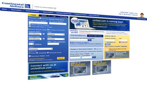 FORSVINNER: Nettsiden til Continental blir snart erstattet med United.