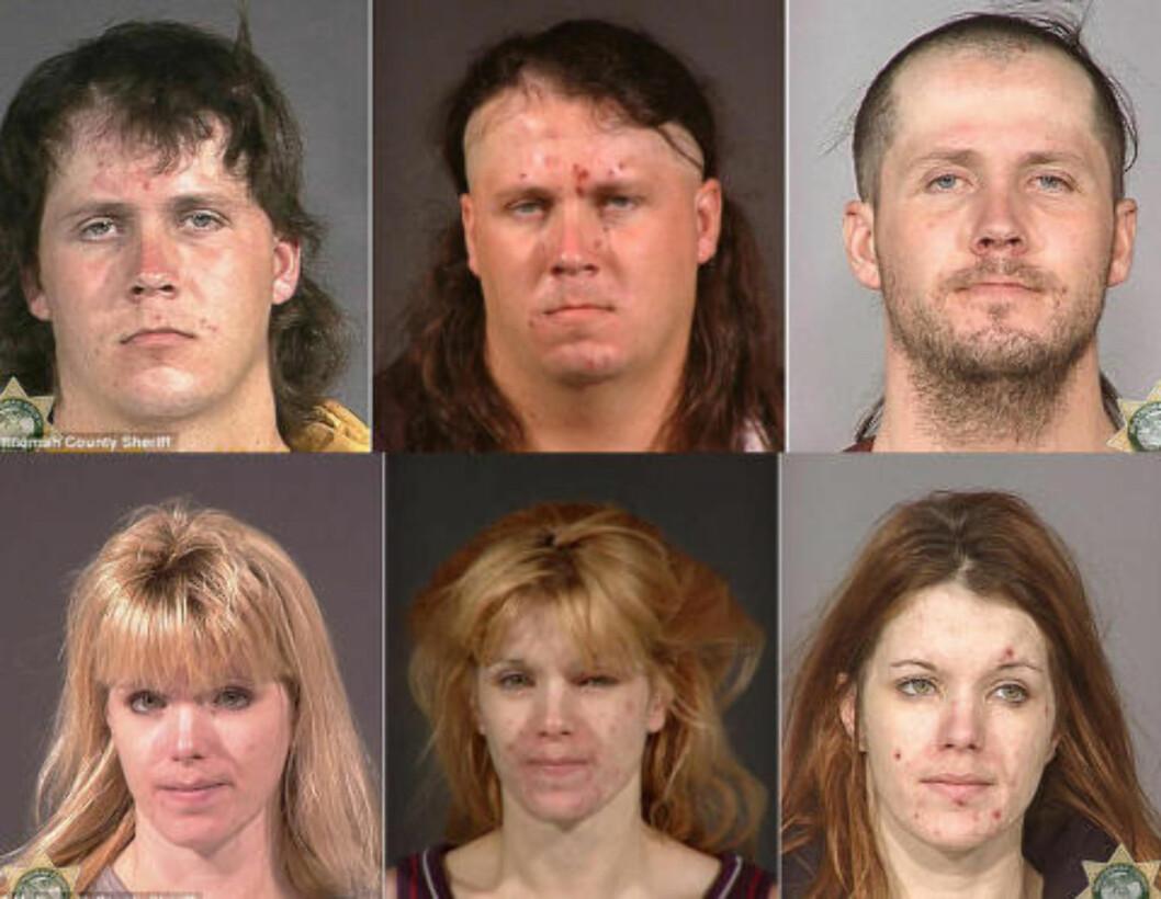 <strong>FORVANDLINGEN:</strong>  Politiet i USA gikk for to år siden ut med bilder som viser effekten ved bruk av det syntetisk sentralstimulerende dopet metamfetamin. Hensikten er å skremme barn og ungdom fra å prøve det. Foto: Multnomah County sheriff-kontor