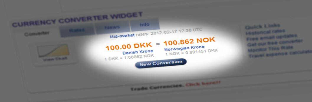 Prisen på danske kroner har sunket i hele dagen, og ligger nå på et svært lavt nivå. Foto: Xe.com/DinSide