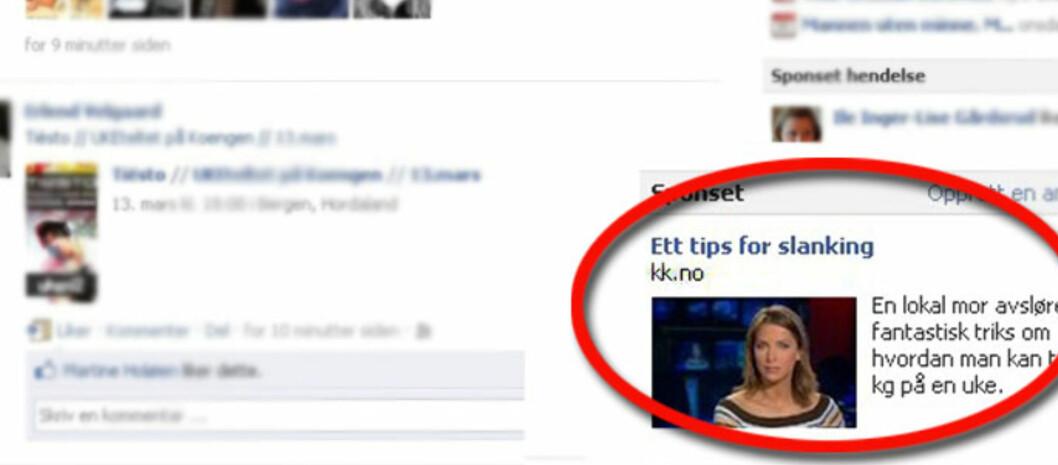 Mange lesere er daglig innom KK.no for å få råd og tips, men dette er IKKE et tips fra kvinnenettstedet.(NB! Annonsen er forstørret i bildet.) Foto: Facebook.no
