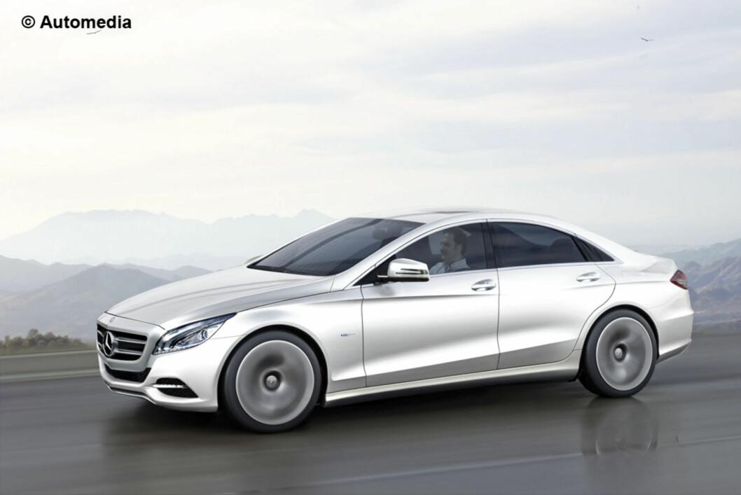 Dette er Automedias manipulerte bilde som skal vise neste Mercedes-Benz C-klasse. Det er utvilsomt sterkt inspirert av F800 Style Concept (se fotoalbum lenger ned). Foto: Automedia
