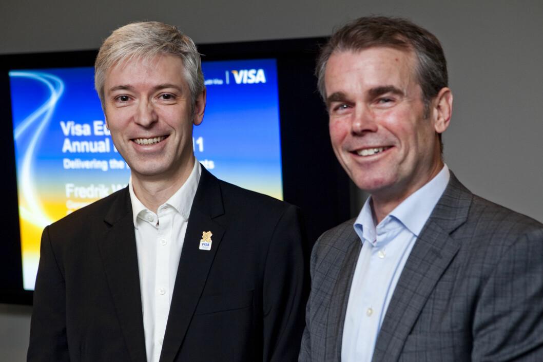 Country Manager Wilhelm Wisbech og Genereal Manager Fredrik Westerman sier Visa Europe har lagt til rette for at bankene kan begynne å rulle ut mer moderne betalingsløsninger. Foto: Per Ervland