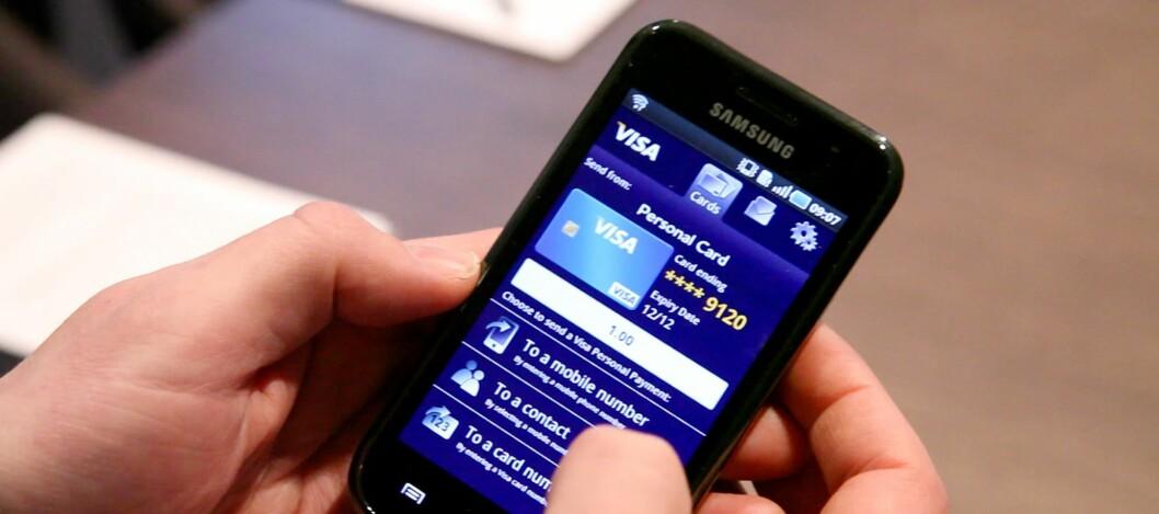 Velg mellom mobilnummer, en i adresseboken eller et kortnummer, og så overfører du pengene. Foto: Per Ervland
