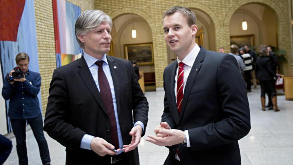 STOLER IKKE PÅ STATOIL: Venstres Ola Elvestuen og KrFs Kjell Ingolf Ropstad krevde i februar alle tall på bordet og full elektrifisering. Foto: Torbjørn Berg/ Dagbladet.