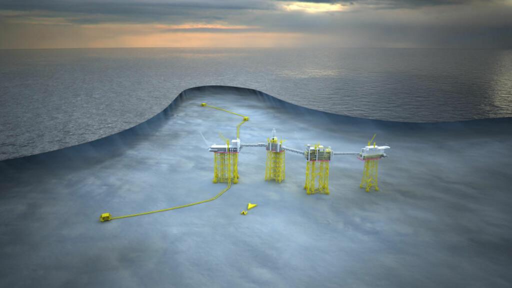 JOHAN SVERDRUP: Slik ser Statoil for seg elektrifisering av det største feltet på Utsira-høyden, Johan Sverdrup. Illustrasjon: Statoil.