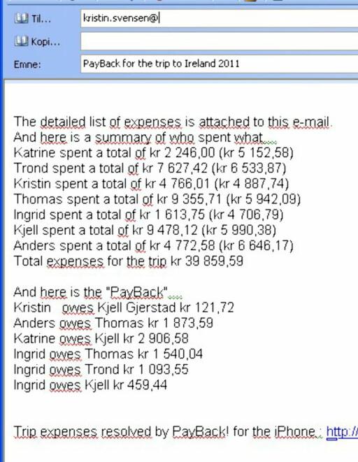 Slik kan en e-post fra PayBack se ut når turen er over. Øverst får du oversikt over hvor mye hver har lagt ut (og hva de skylder i parentes), og nederst ser du hvem som skal betale hvor mye til hvem. Foto: DinSide.no