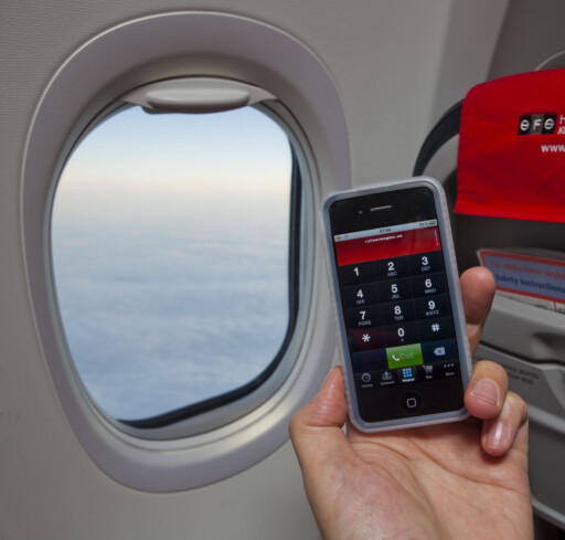 SKYCALL: Norwegians app SkyCall gjør at du kan ringe om bord Norwegians WiFi-fly. Foto: PER ERVLAND