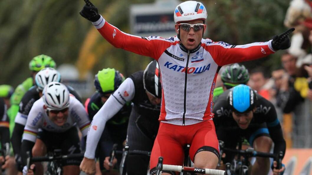 <strong>KAN SKJE IGJEN:</strong> Alexander Kristoff vant Milan - Sanremo for to uker siden. I dag håper han på nytt spurtoppgjør i Flandern rundt. Foto: Jean Christophe Magnenet, AFP / NTB Scanpix