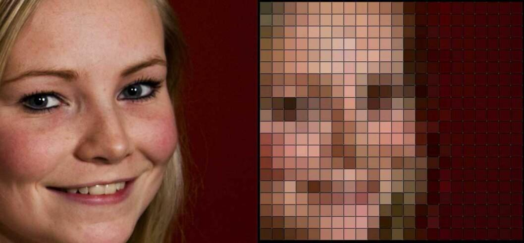 Her er modellen før og etter pixelering. Foto: Per Ervland/Produsenten