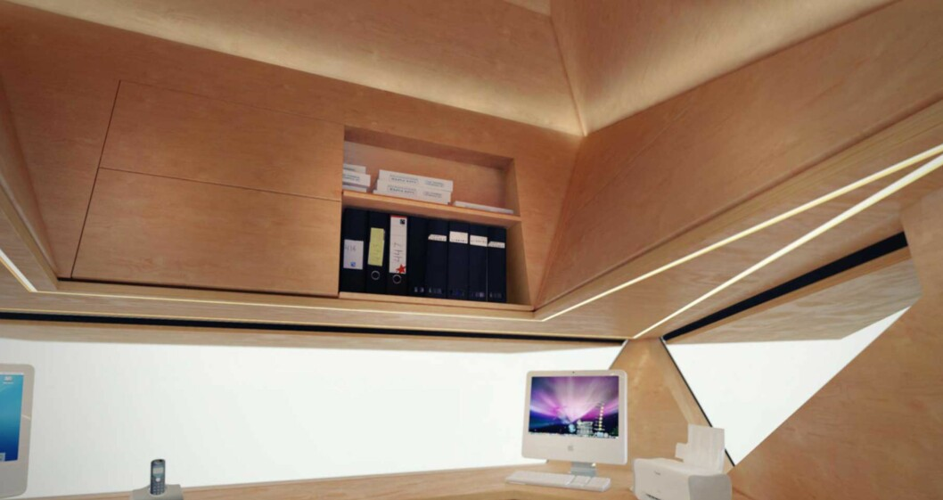 Åpne luker gir utsyn, og takhøyden gir lagerplass. Foto: Produsenten