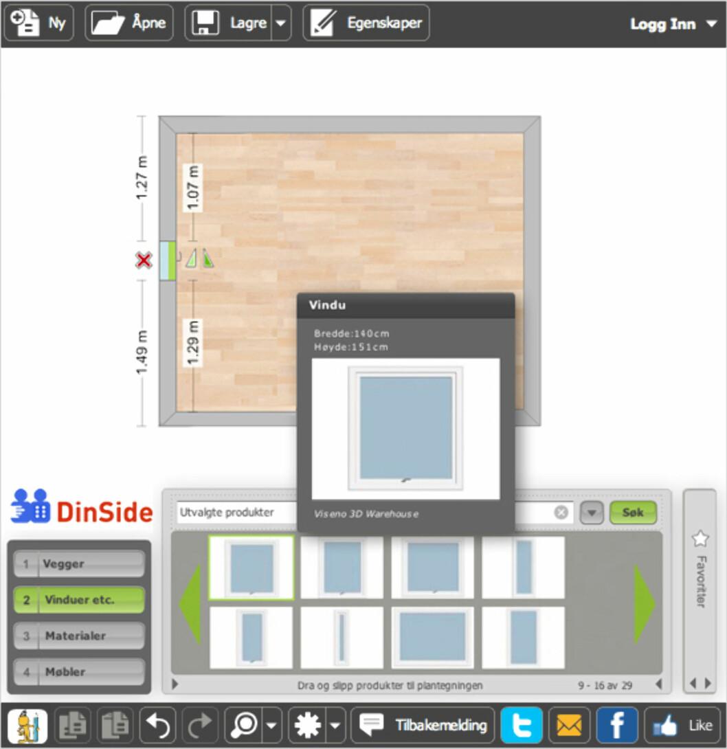 <b>2. Vinduer</b> Når rommet er tegnet opp, kan du plassere inn vinduer. Foto: RoomSketcher