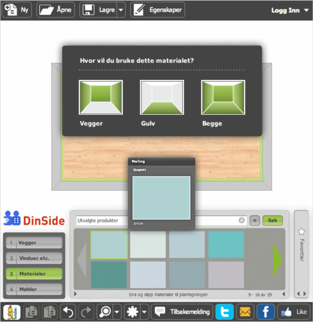 <b>3. Materialer</b> lar deg legge inn ulike typer belegg for gulv, og velge farge på vegger et cetera.  Foto: RoomSketcher