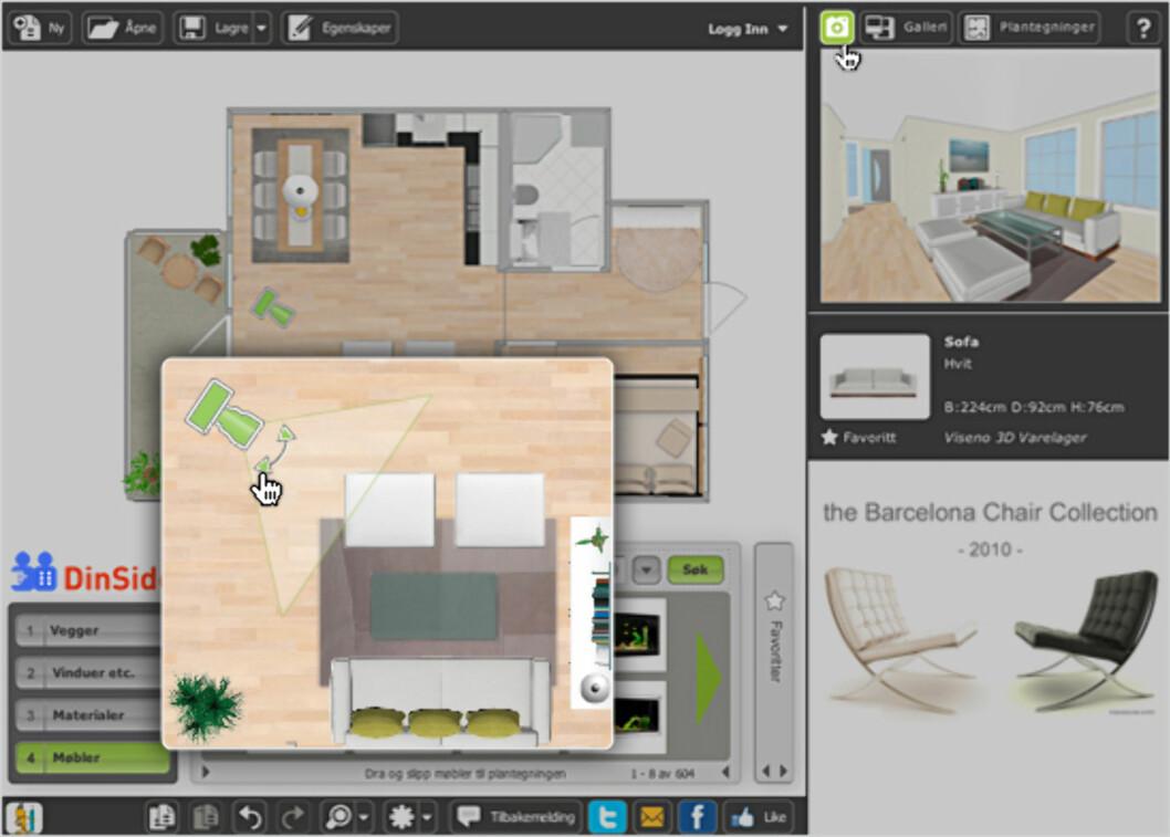 <strong><b>Visualiser:</strong></b> Plasser (det grønne) kameraet på ønsket sted for å ta bilde. Foto: RoomSketcher